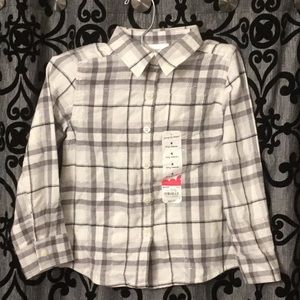 jumping bean Silver Metallic Plaid Button Down